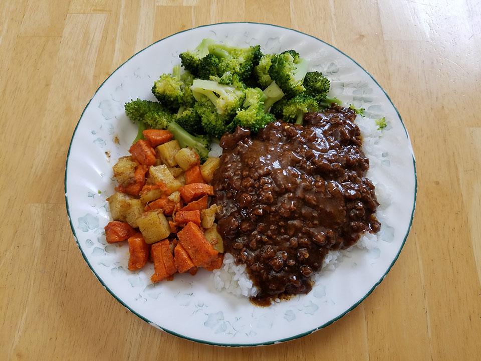Mongolian beef, rice, broccoli, roasted sweet potatoes