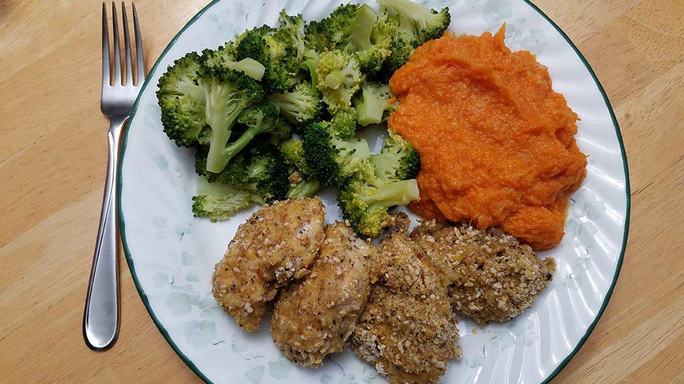Chicken tenders, broccoli, sweet potatoes