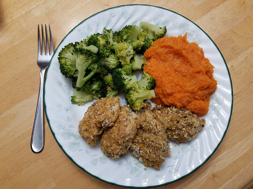 Chicken tenders, broccoli, sweet potatoes