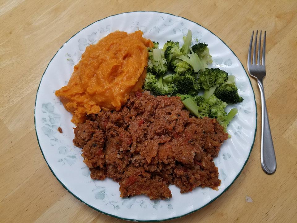 Porcupine meatballs, broccoli, sweet potatoes