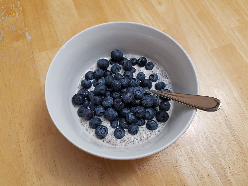 Chia seed pudding, blueberries, 3/4 scoop protein powder