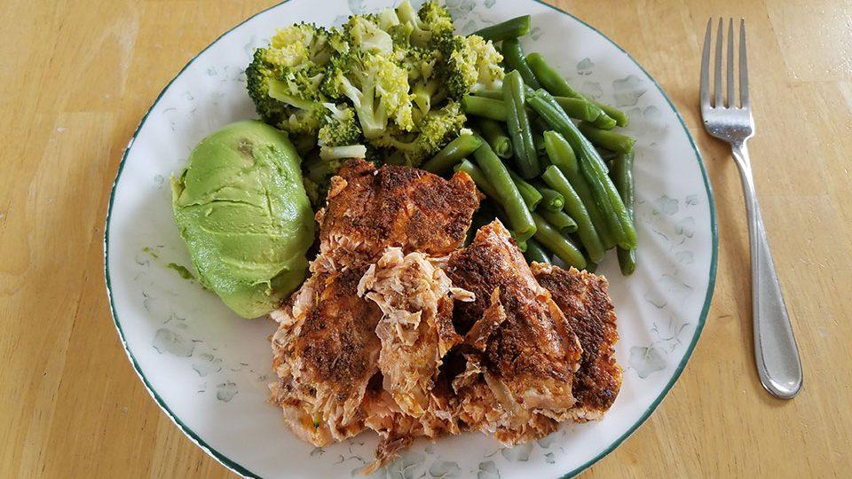 Salmon, green beans, broccoli, avocado