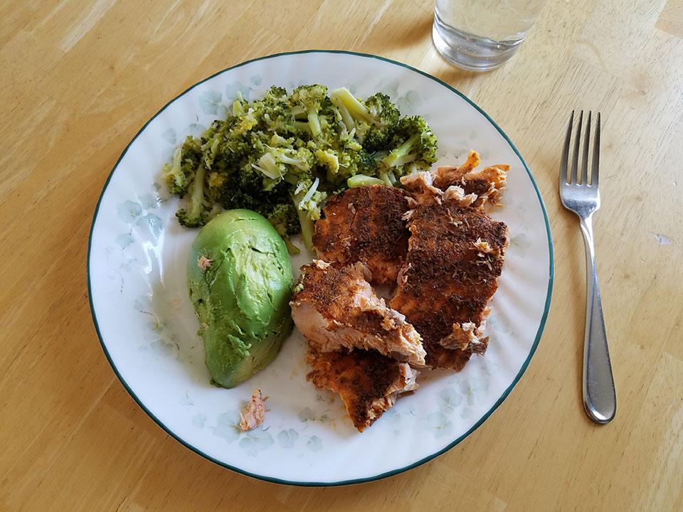 Salmon, broccoli, avocado