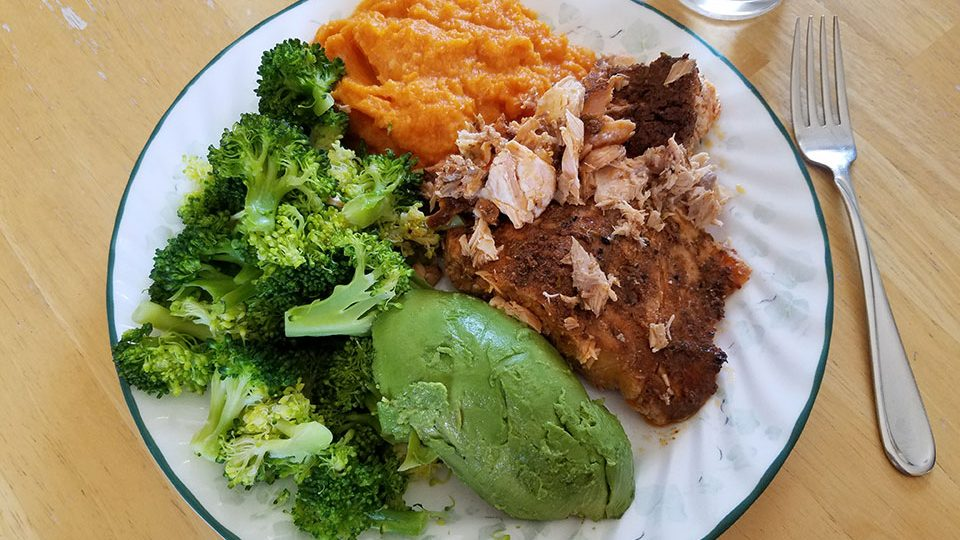 Salmon, broccoli, sweet potatoes, avocado