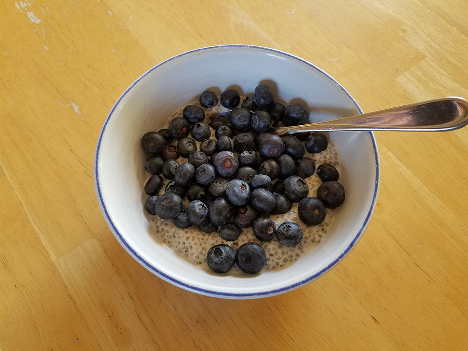Chia seed pudding, blueberries, protein powder