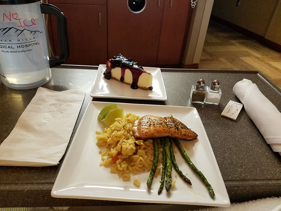 Salmon, rice, asparagus, and perhaps the best blueberry cheesecake you can find anywhere!