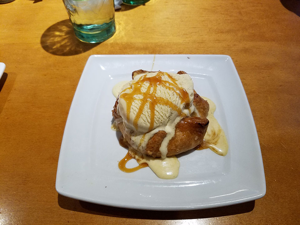 Apple pie-ish stuff with ice cream for dessert