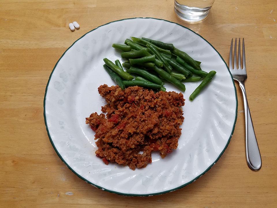 Porcupine meatballs, green beans