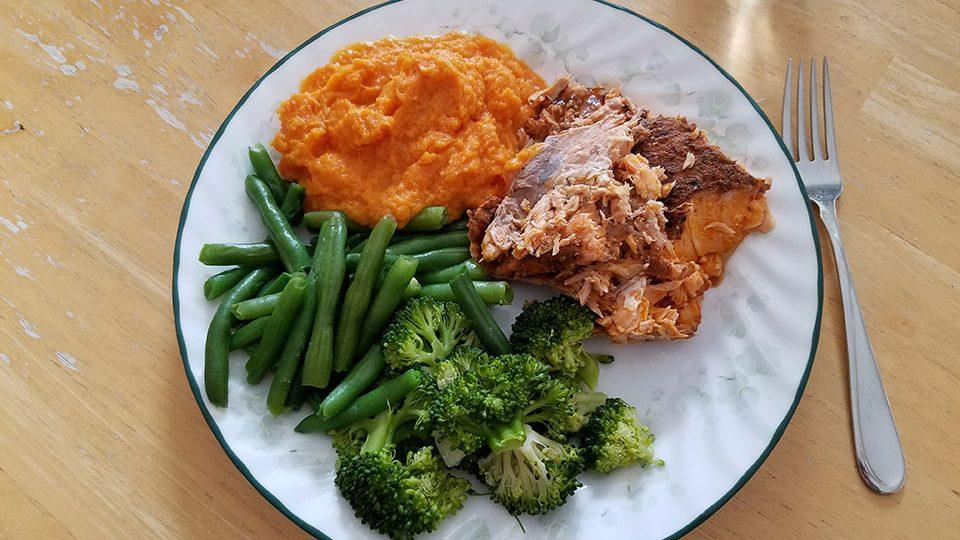 Salmon, broccoli, green beans, sweet potatoes