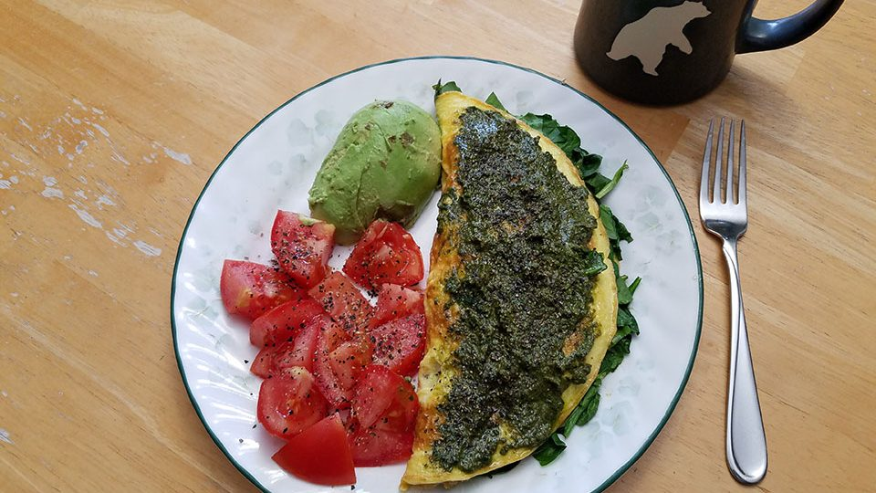 3-egg spinach mushroom omelet, tomato, avocado, coffee w/ collagen
