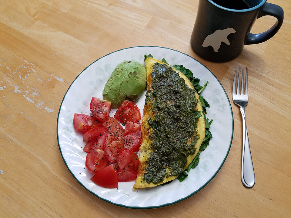 3-egg spinach mushroom omelet, tomato, avocado, coffee w/ collagen