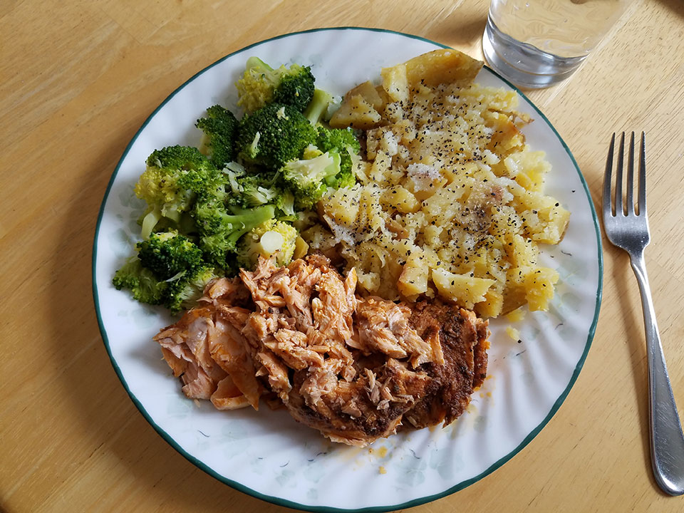 Salmon, broccoli, baked potato