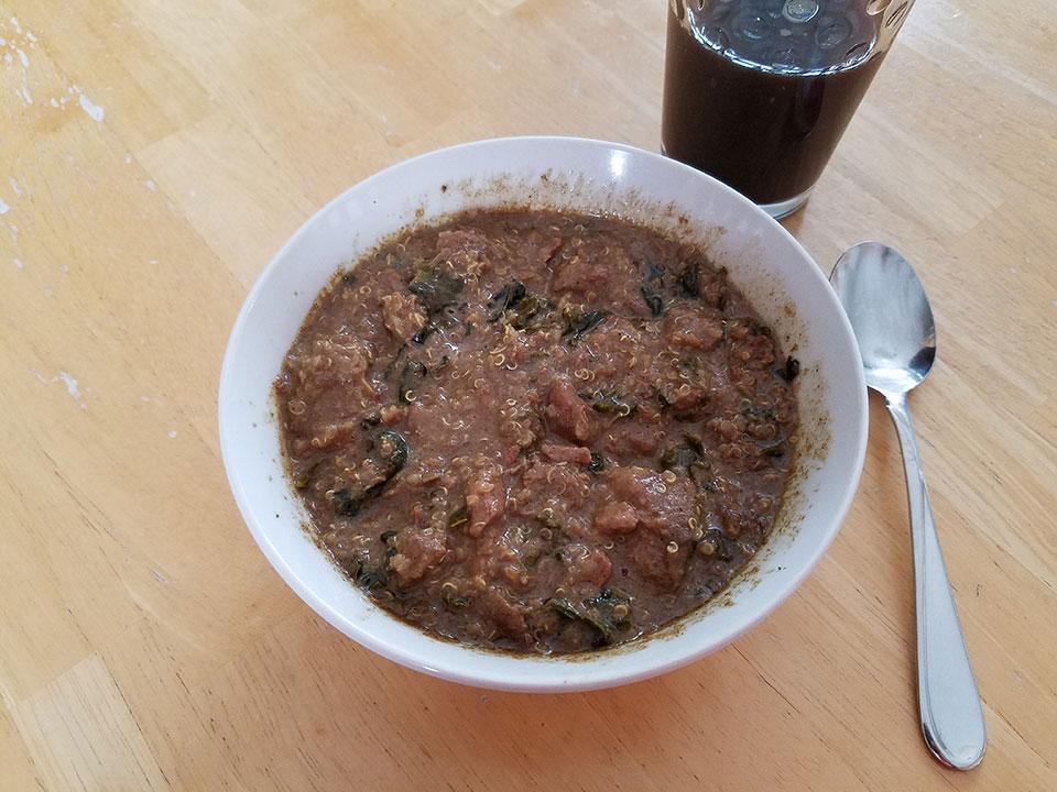 Moroccan beef stew, prune juice