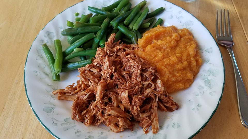 Pulled BBQ chicken, green beans, sweet potatoes