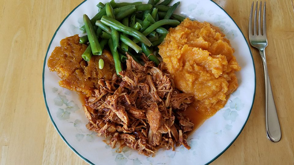 Pulled BBQ chicken, green beans, squash, sweet potatoes