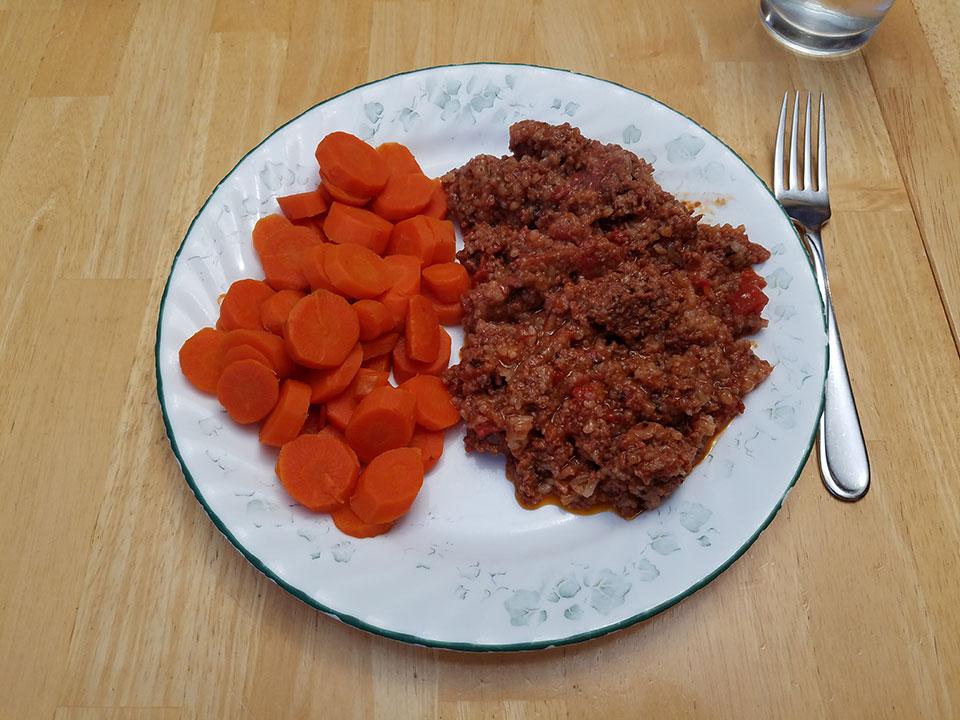 Porcupine meatballs, carrots