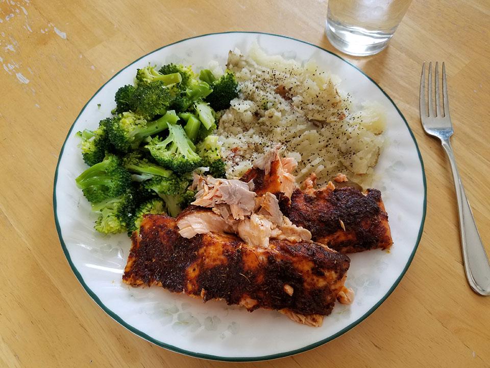 Salmon (both Atlantic and Coho), broccoli, baked potato