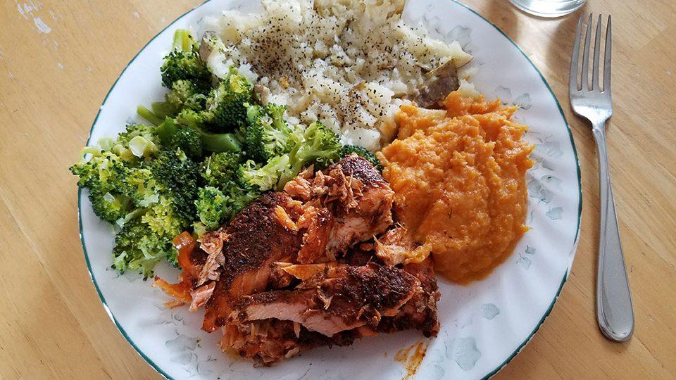 Salmon, broccoli, baked potato, sweet potatoes